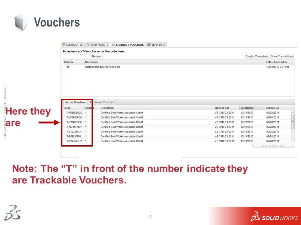 13 Ι © Dassault Systèmes Ι Confidential Information Ι Vouchers Here they are Note: The T in front of the number indicate they are Trackable Vouchers.