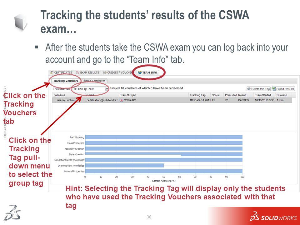 30 Ι © Dassault Systèmes Ι Confidential Information Ι Tracking the students results of the CSWA exam… After the students take the CSWA exam you can lo