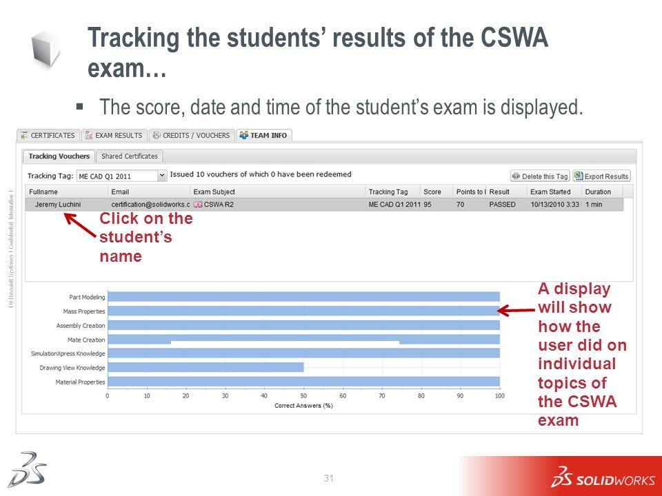 31 Ι © Dassault Systèmes Ι Confidential Information Ι Tracking the students results of the CSWA exam… The score, date and time of the students exam is