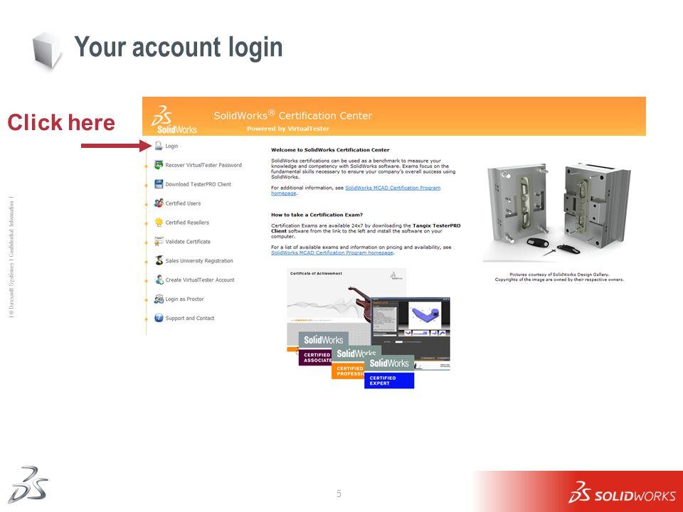 5 Ι © Dassault Systèmes Ι Confidential Information Ι Click here Your account login