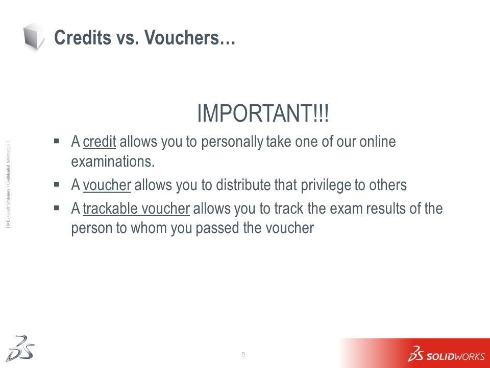 9 Ι © Dassault Systèmes Ι Confidential Information Ι Credits vs. Vouchers… IMPORTANT!!! A credit allows you to personally take one of our online exami