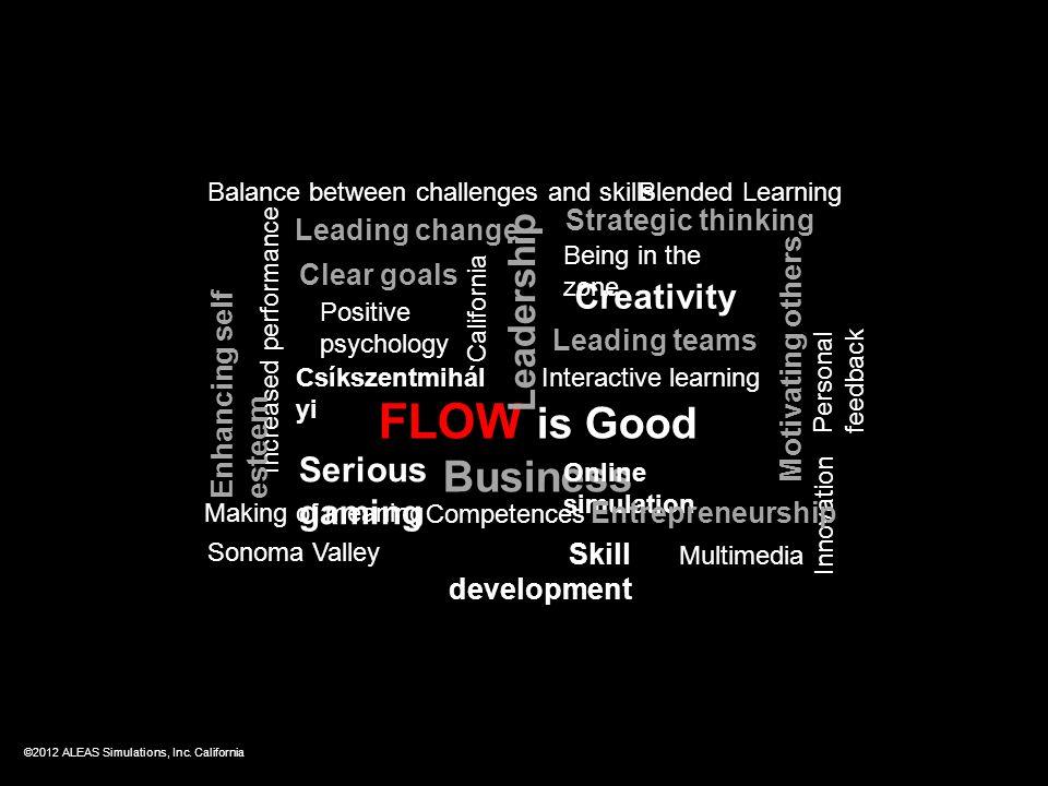 FLOW is Good Business Leadership Csíkszentmihál yi Online simulation Skill development Blended Learning Serious gaming Innovation California Creativit
