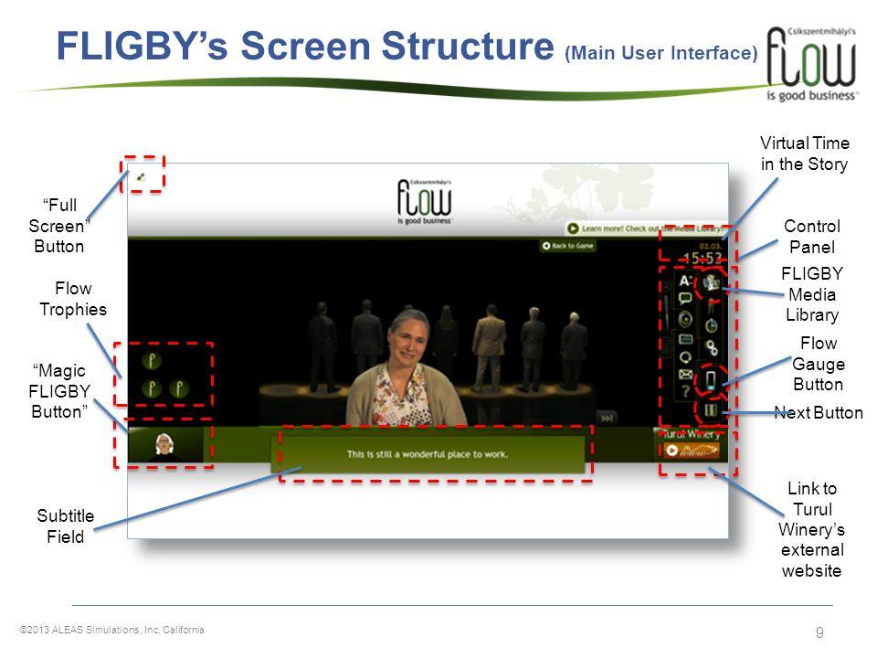 9 FLIGBYs Screen Structure (Main User Interface) Magic FLIGBY Button Full Screen Button Control Panel Next Button Flow Gauge Button FLIGBY Media Libra
