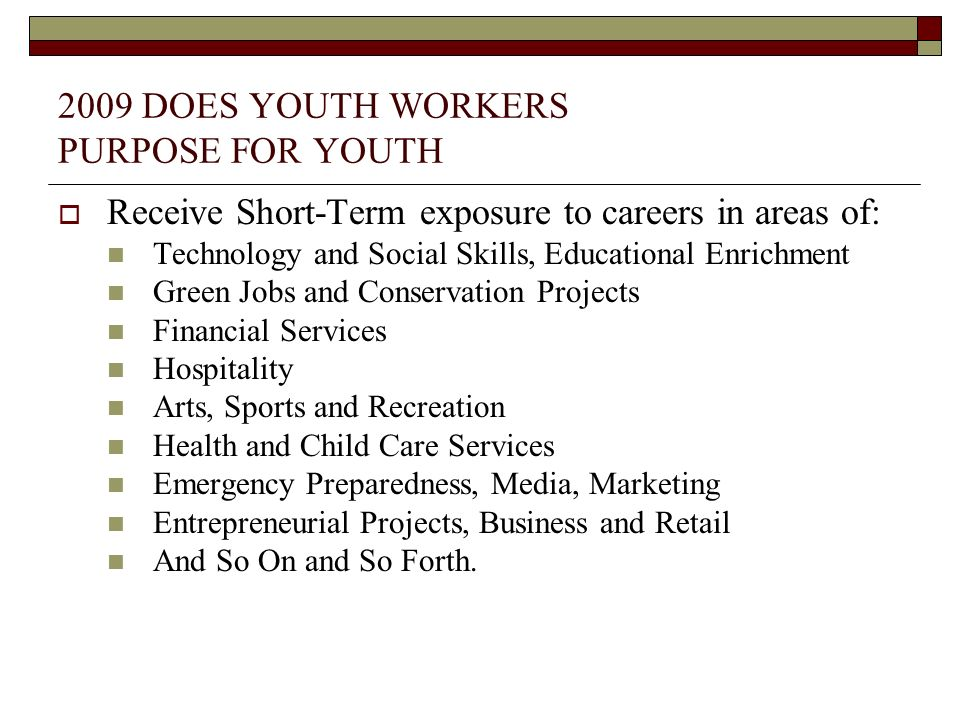 2009 DOES YOUTH WORKERS PURPOSE FOR YOUTH Receive Short-Term exposure to careers in areas of: Technology and Social Skills, Educational Enrichment Gre