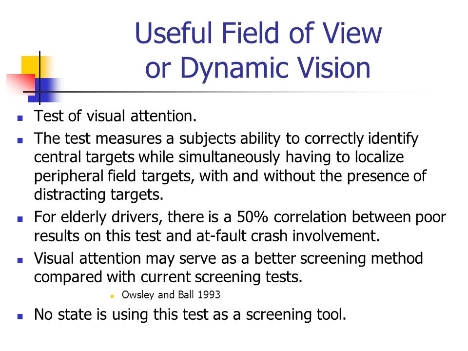 Useful Field of View or Dynamic Vision Test of visual attention. The test measures a subjects ability to correctly identify central targets while simu