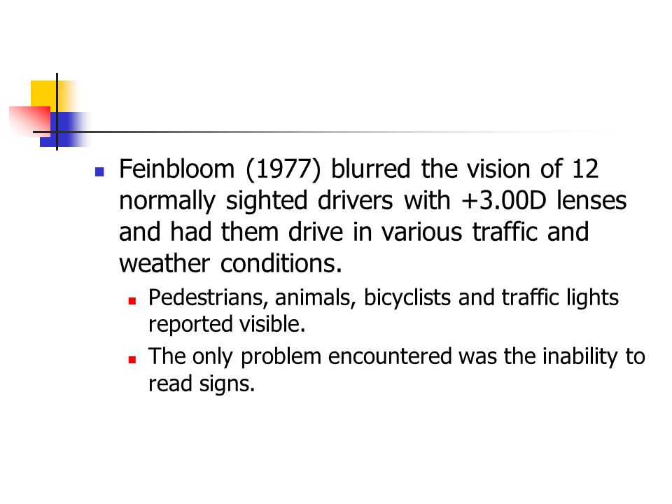 Feinbloom (1977) blurred the vision of 12 normally sighted drivers with +3.00D lenses and had them drive in various traffic and weather conditions. Pe