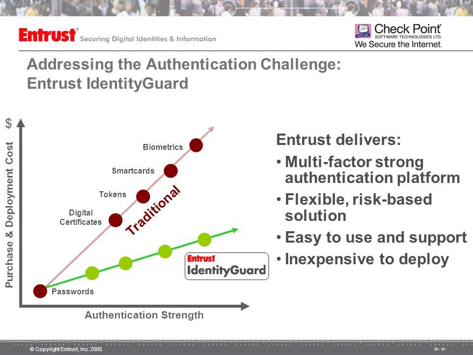 © Copyright Entrust, Inc. 2005 Addressing the Authentication Challenge: Entrust IdentityGuard Entrust delivers: Multi-factor strong authentication pla