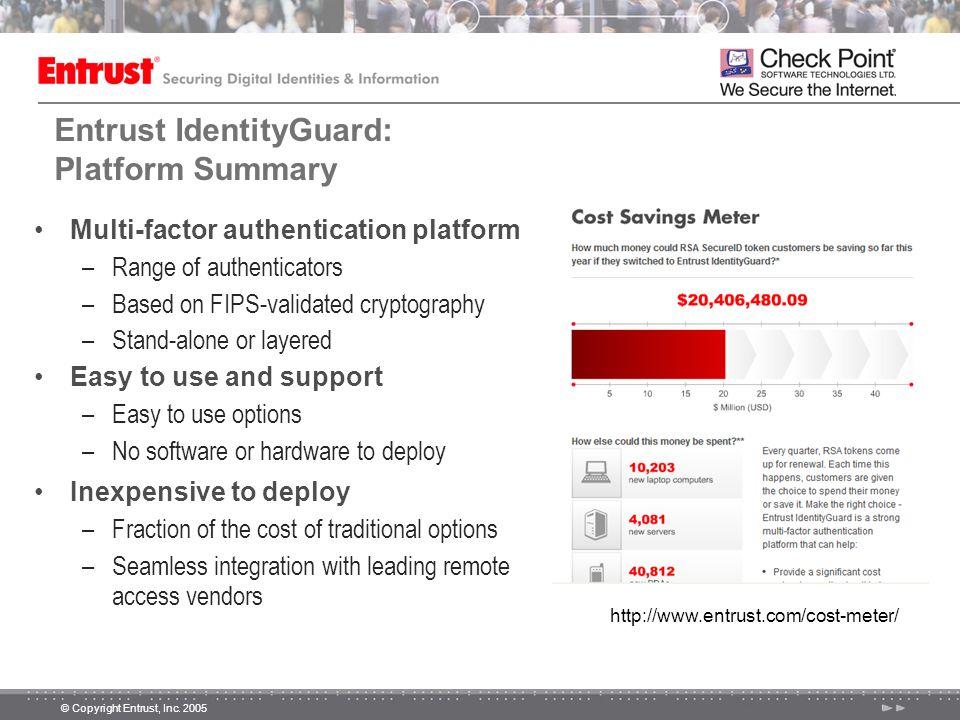 © Copyright Entrust, Inc. 2005 Entrust IdentityGuard: Platform Summary Multi-factor authentication platform –Range of authenticators –Based on FIPS-va