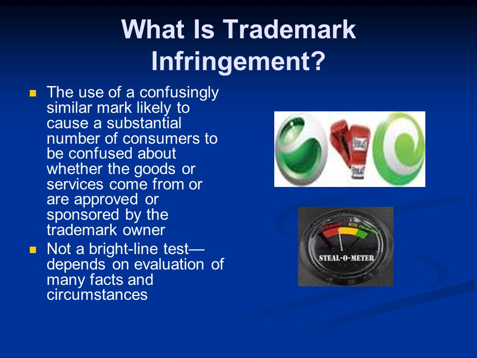 Proper Trademark Use Set the mark apart with large type or colors Use ® -- with the mark after the registration issues or SM confer no trademark right