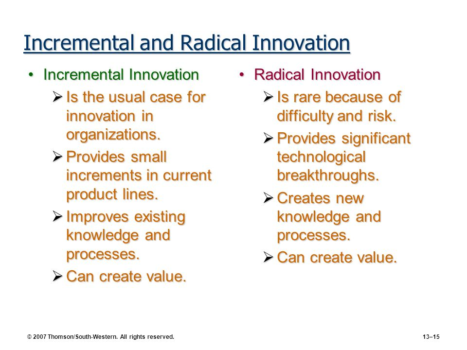 © 2007 Thomson/South-Western. All rights reserved. 13–15 Incremental and Radical Innovation Incremental InnovationIncremental Innovation Is the usual