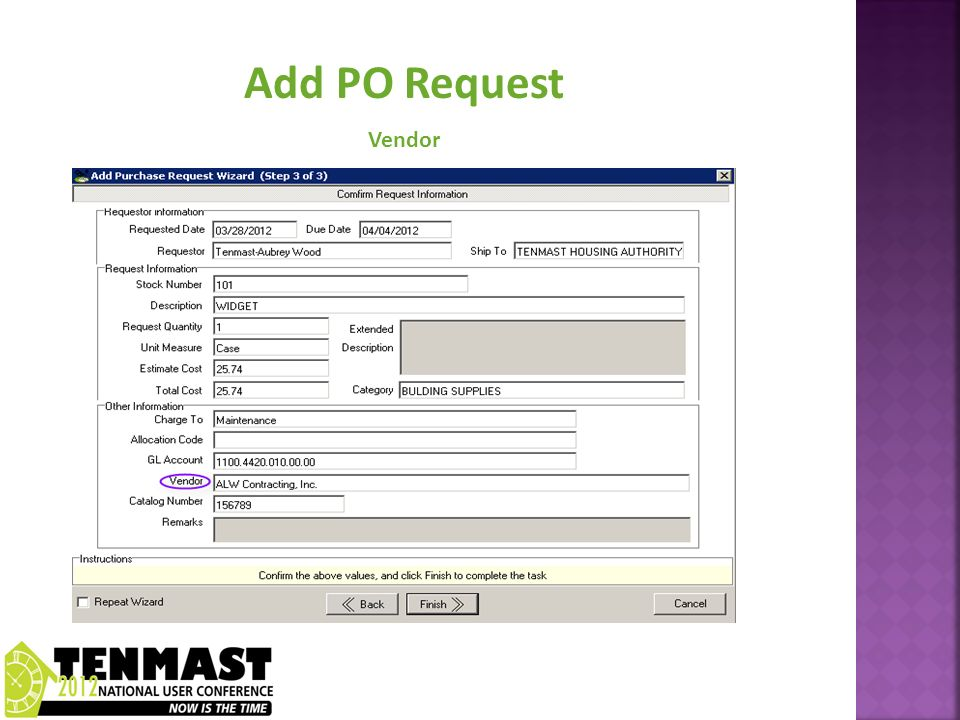 Add PO Request Vendor
