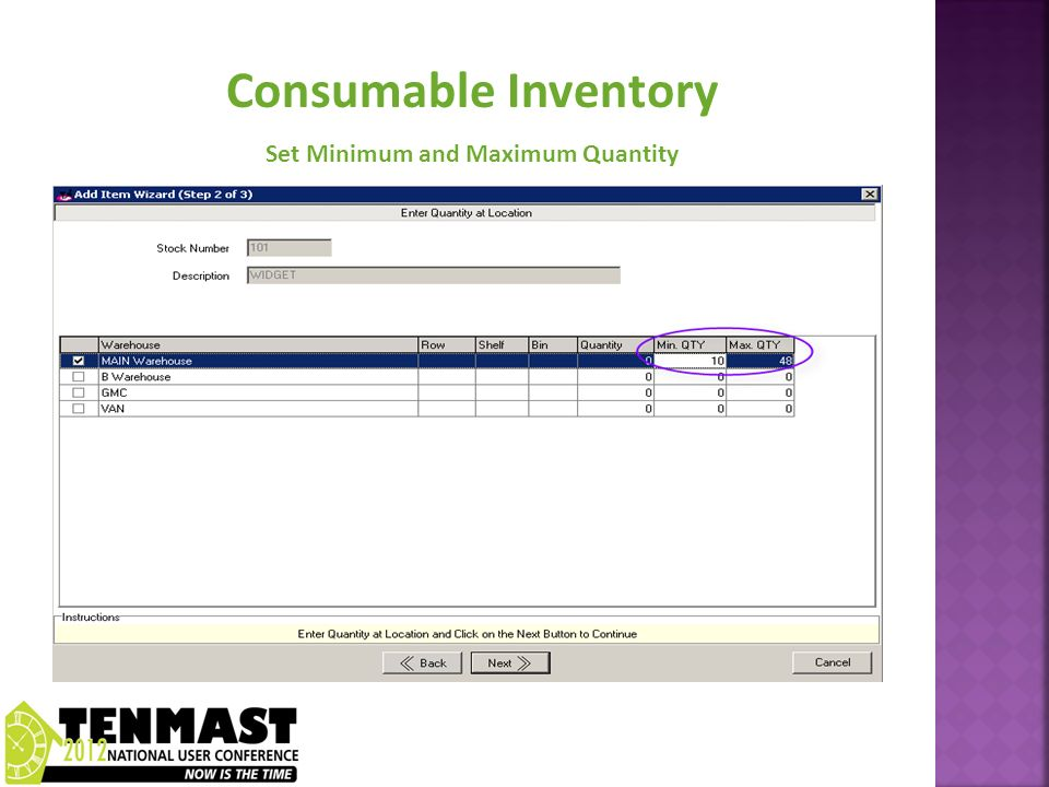 Consumable Inventory Set Minimum and Maximum Quantity