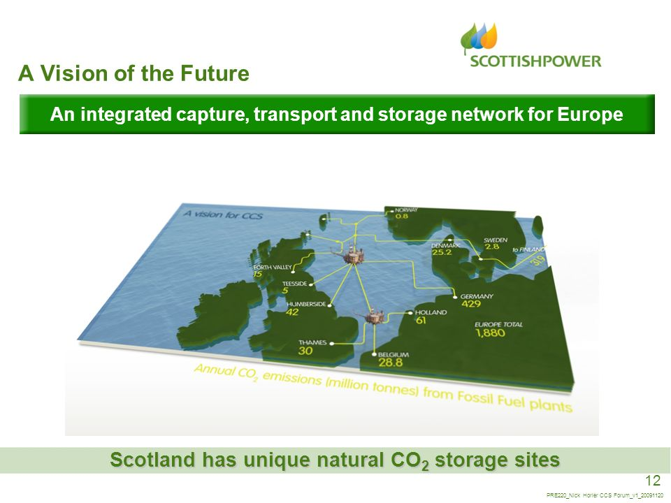 12 PRE220_Nick Horler CCS Forum_v1_20091120 A Vision of the Future An integrated capture, transport and storage network for Europe Scotland has unique