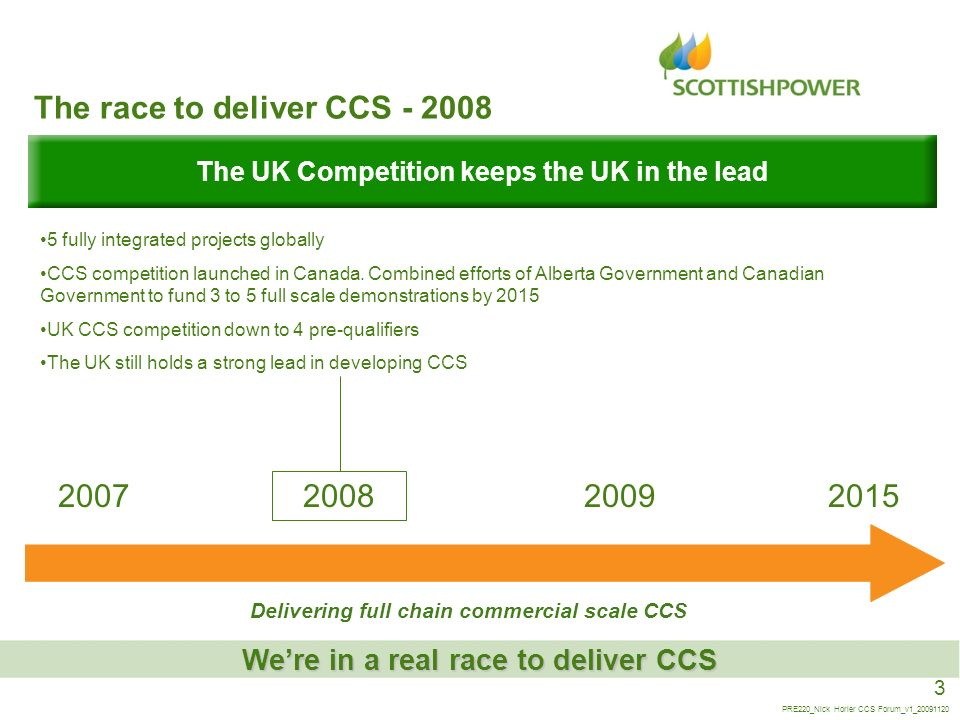 3 PRE220_Nick Horler CCS Forum_v1_20091120 The race to deliver CCS - 2008 Were in a real race to deliver CCS The UK Competition keeps the UK in the le