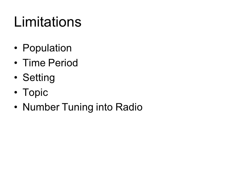 Limitations Population Time Period Setting Topic Number Tuning into Radio