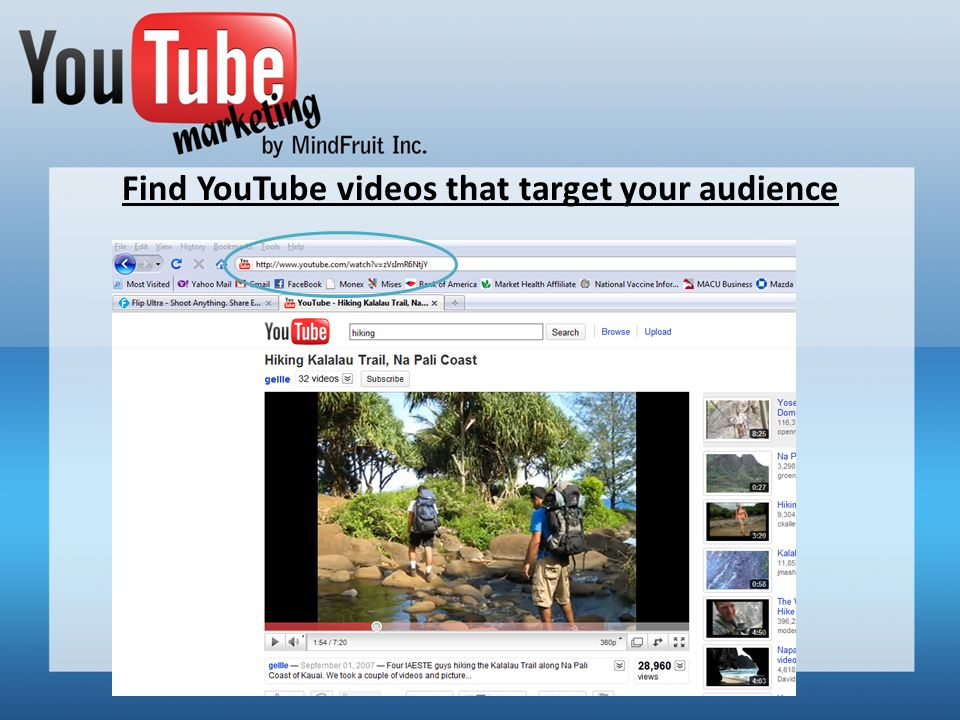 Find YouTube videos that target your audience