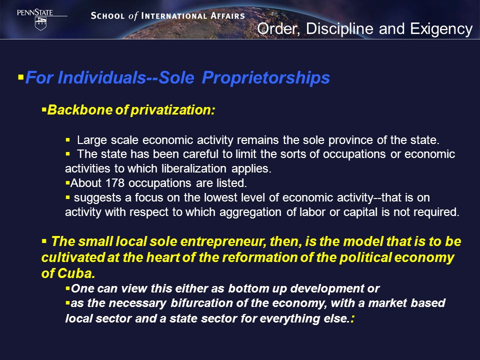 Order, Discipline and Exigency For Individuals--Sole Proprietorships Backbone of privatization: Large scale economic activity remains the sole provinc