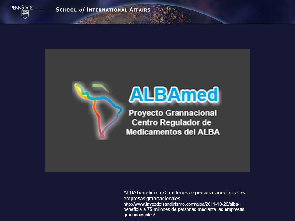 ALBA beneficia a 75 millones de personas mediante las empresas grannacionales http://www.lavozdelsandinismo.com/alba/2011-10-26/alba- beneficia-a-75-m