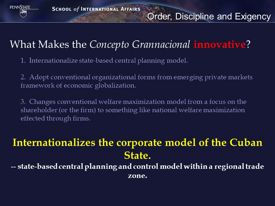Order, Discipline and Exigency What Makes the Concepto Grannacional innovative .