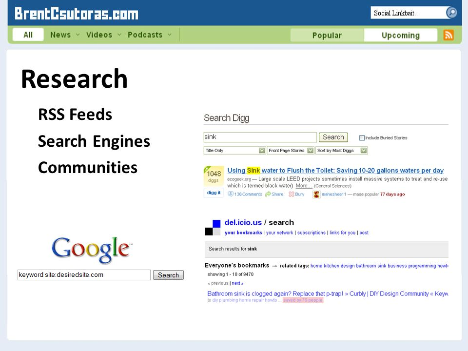 Research RSS Feeds Search Engines Communities