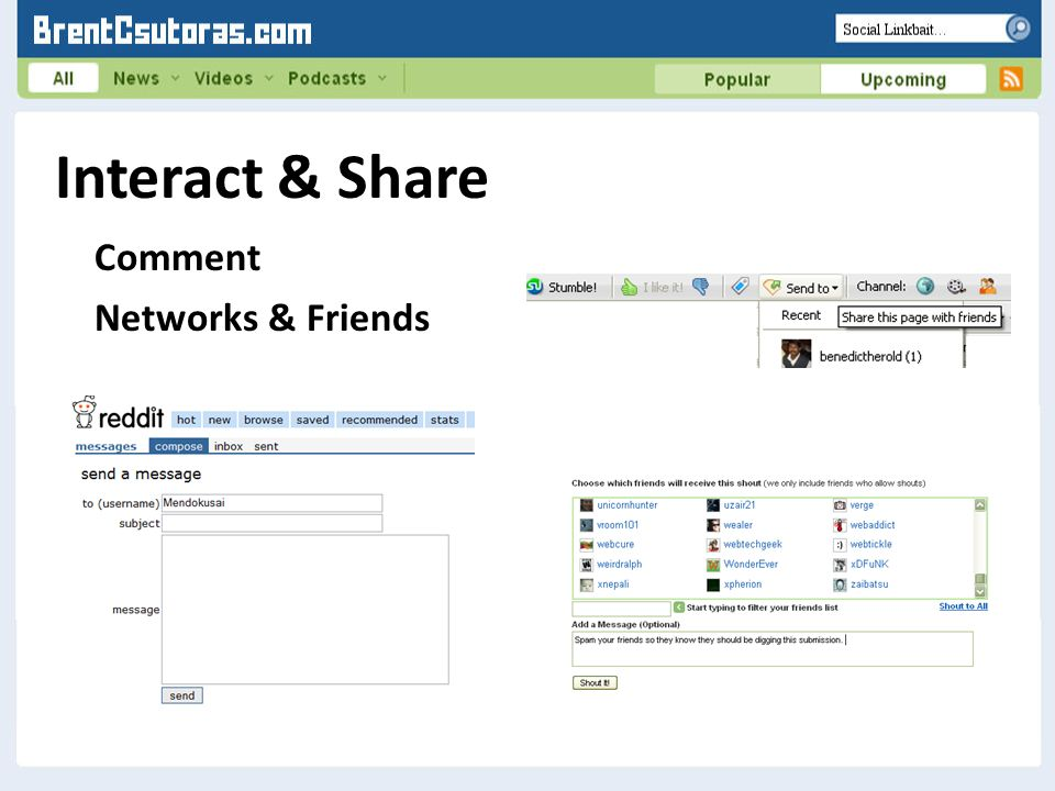 Interact & Share Comment Networks & Friends