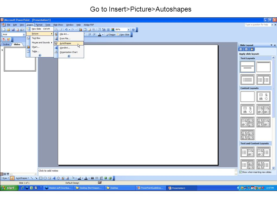 Go to Insert>Picture>Autoshapes