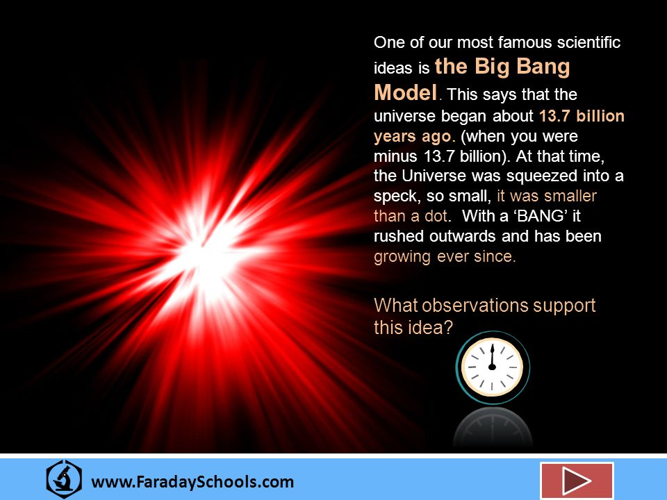 www.FaradaySchools.com One of our most famous scientific ideas is the Big Bang Model.
