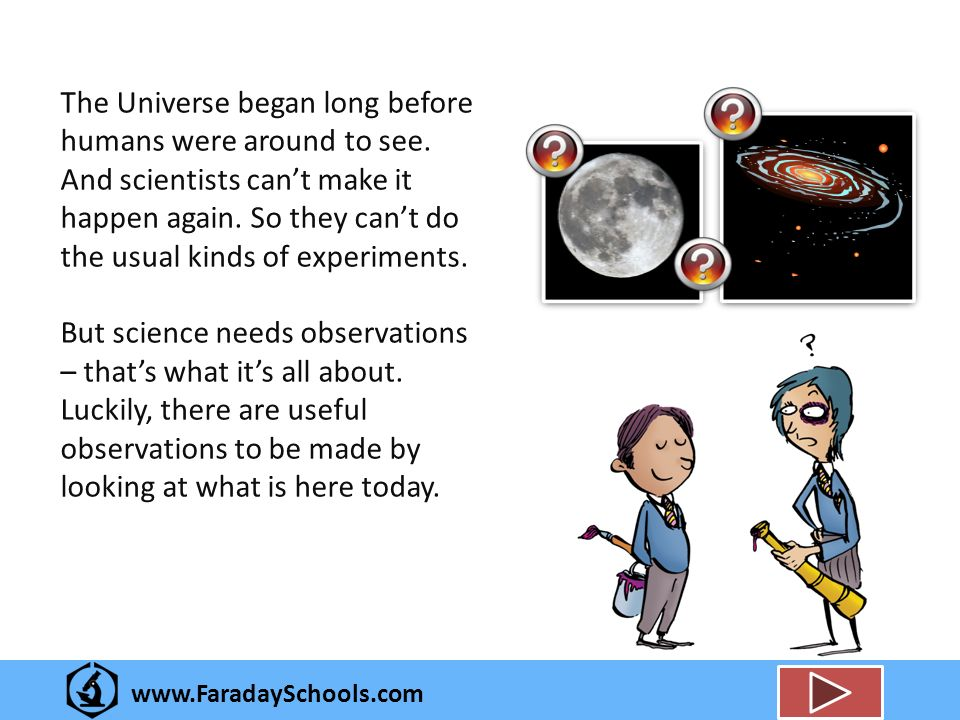 www.FaradaySchools.com The Universe began long before humans were around to see.