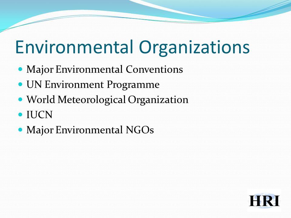 Environmental Organizations Major Environmental Conventions UN Environment Programme World Meteorological Organization IUCN Major Environmental NGOs