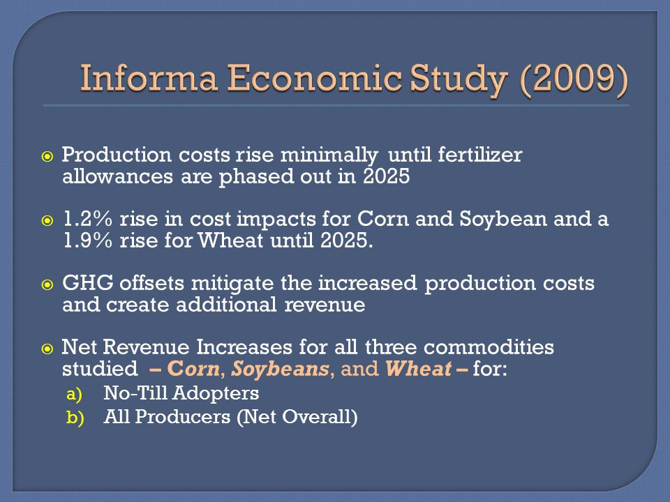 Production costs rise minimally until fertilizer allowances are phased out in 2025 1.2% rise in cost impacts for Corn and Soybean and a 1.9% rise for Wheat until 2025.