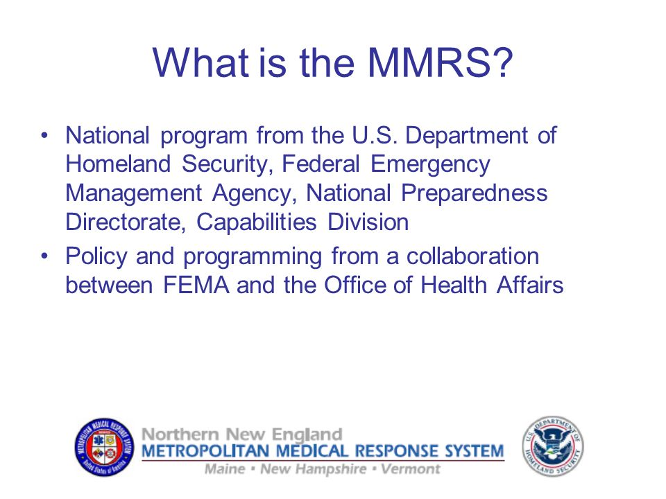 What is the MMRS. National program from the U.S.