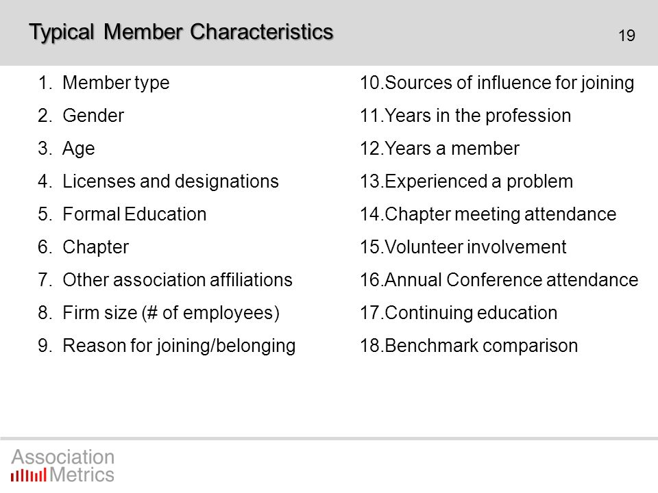 19 1.Member type 2.Gender 3.Age 4.Licenses and designations 5.Formal Education 6.Chapter 7.Other association affiliations 8.Firm size (# of employees)