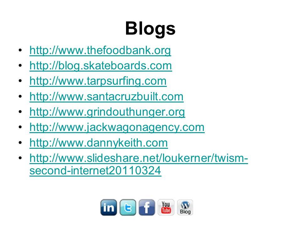 Blogs http://www.thefoodbank.org http://blog.skateboards.com http://www.tarpsurfing.com http://www.santacruzbuilt.com http://www.grindouthunger.org http://www.jackwagonagency.com http://www.dannykeith.com http://www.slideshare.net/loukerner/twism- second-internet20110324http://www.slideshare.net/loukerner/twism- second-internet20110324