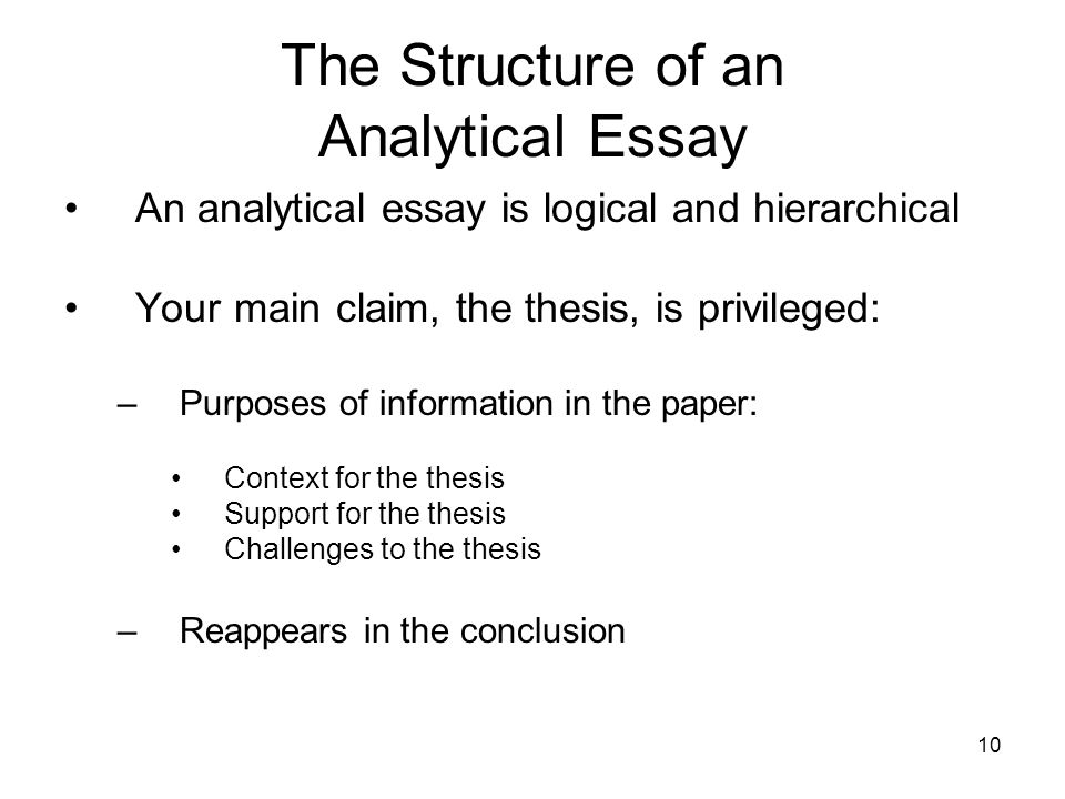 10 The Structure of an Analytical Essay An analytical essay is logical and hierarchical Your main claim, the thesis, is privileged: –Purposes of infor