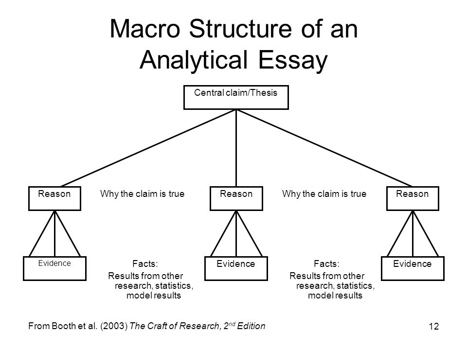 12 Macro Structure of an Analytical Essay Central claim/Thesis Reason Evidence Why the claim is true Facts: Results from other research, statistics, m