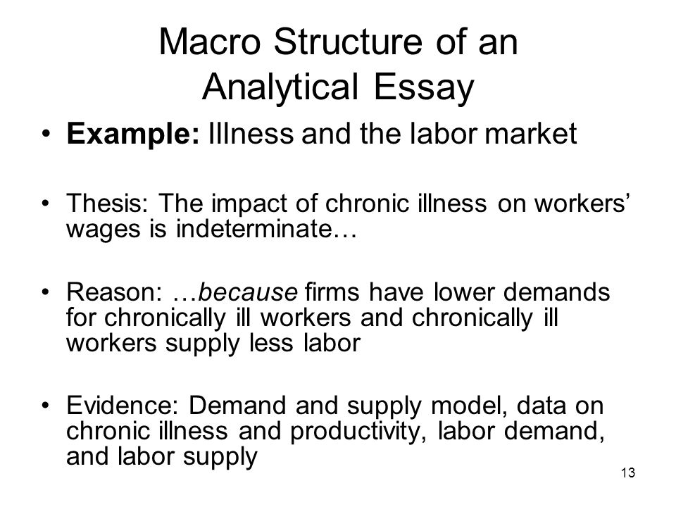 13 Macro Structure of an Analytical Essay Example: Illness and the labor market Thesis: The impact of chronic illness on workers wages is indeterminat