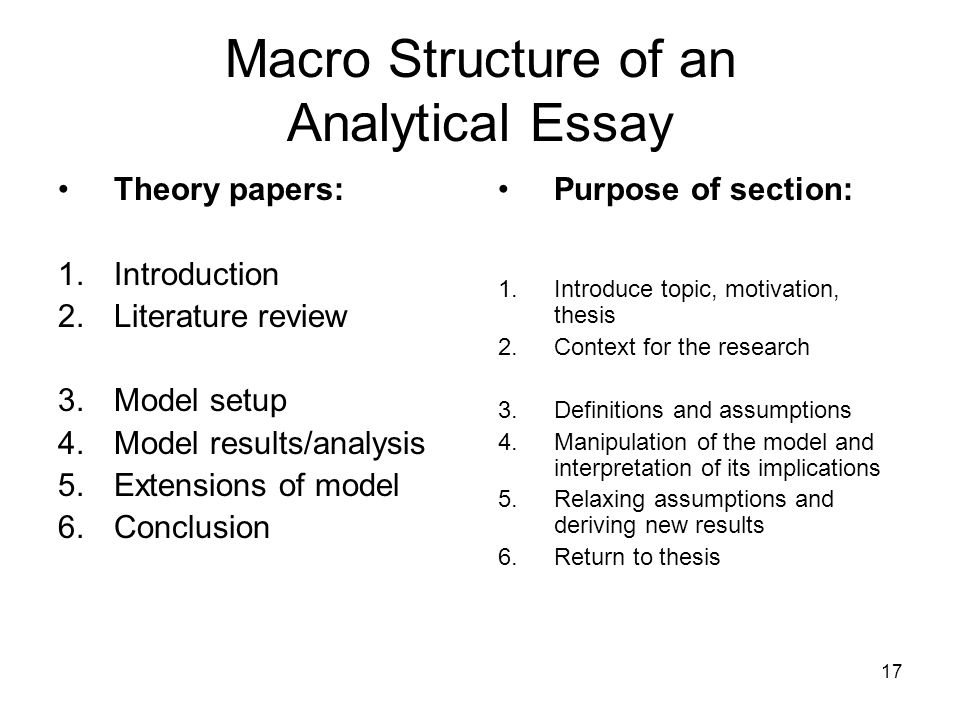 17 Macro Structure of an Analytical Essay Theory papers: 1.Introduction 2.Literature review 3.Model setup 4.Model results/analysis 5.Extensions of mod