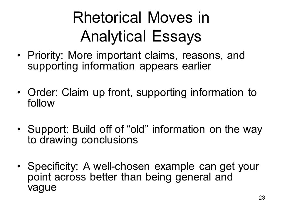 23 Rhetorical Moves in Analytical Essays Priority: More important claims, reasons, and supporting information appears earlier Order: Claim up front, s