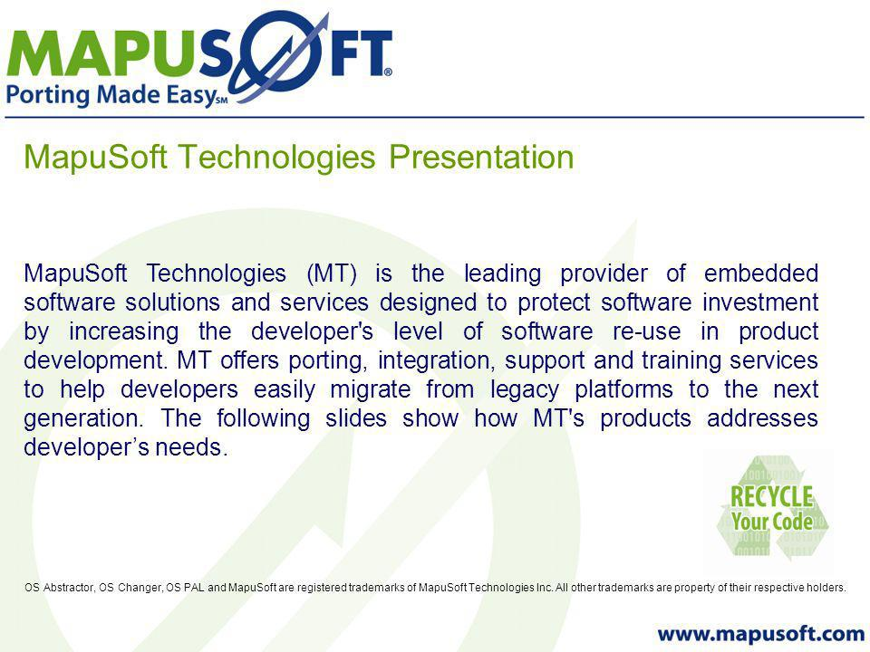MapuSoft Technologies Presentation OS Abstractor, OS Changer, OS PAL and MapuSoft are registered trademarks of MapuSoft Technologies Inc. All other tr