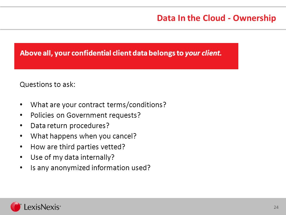 23 Public Cloud Data Protection Availability Data Ownership