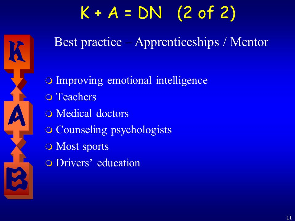 11 K + A = DN (2 of 2) Improving emotional intelligence Teachers Medical doctors Counseling psychologists Most sports Drivers education Best practice – Apprenticeships / Mentor