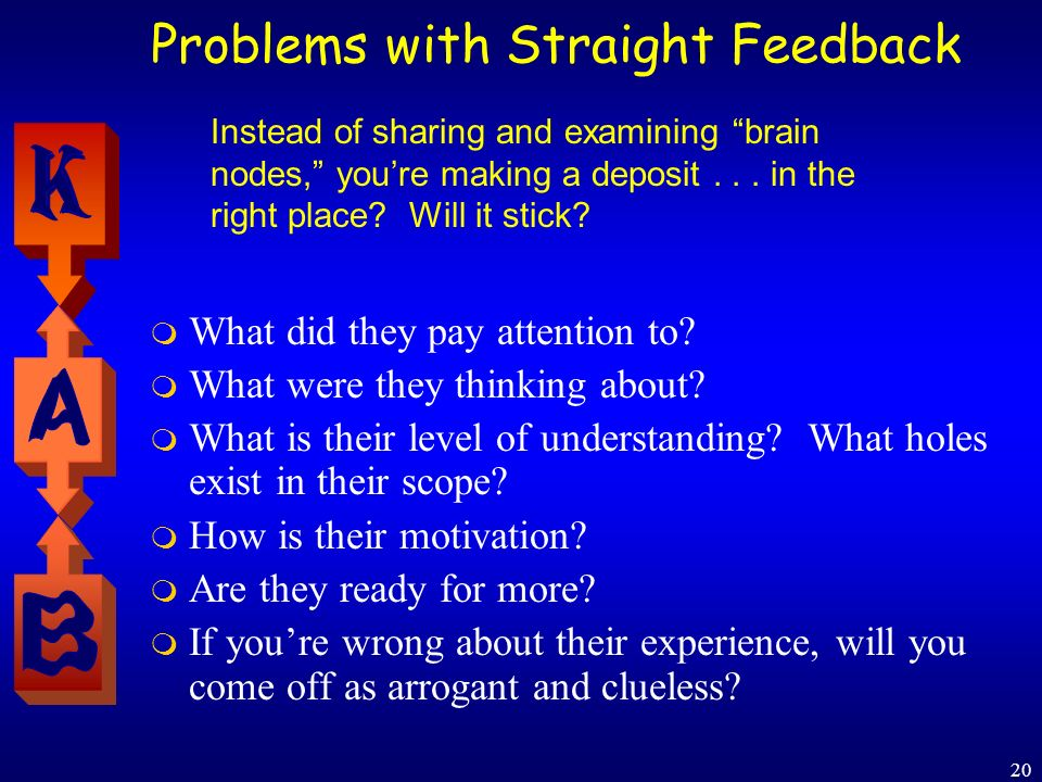 20 Problems with Straight Feedback What did they pay attention to? What were they thinking about? What is their level of understanding? What holes exi