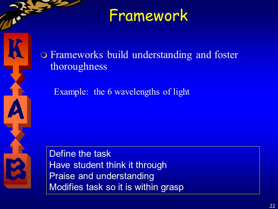 22 Framework Frameworks build understanding and foster thoroughness Example: the 6 wavelengths of light Define the task Have student think it through