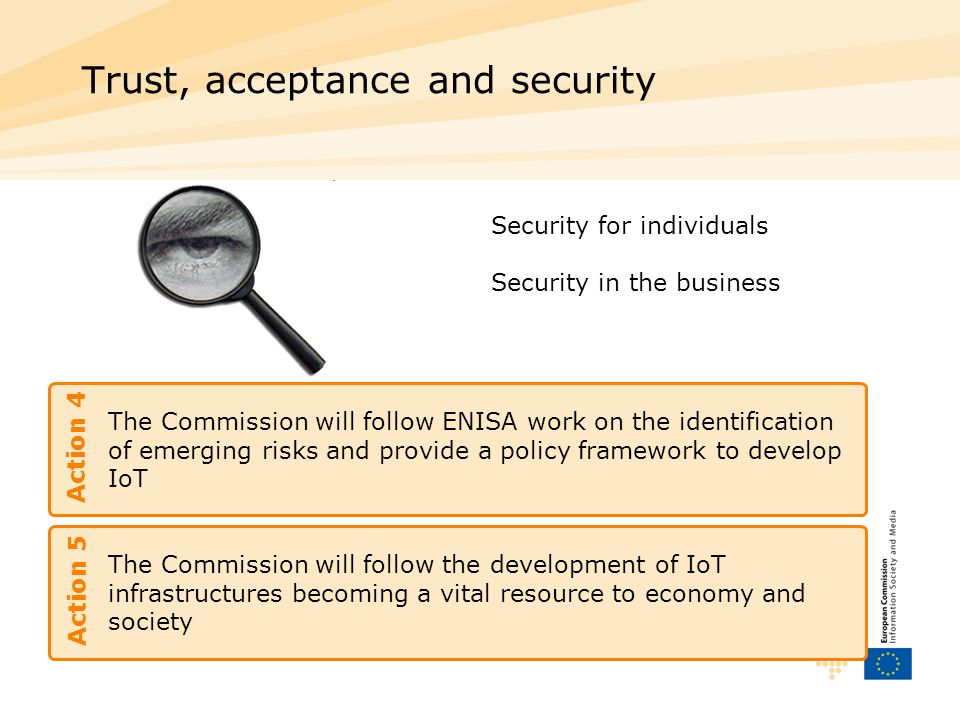 The Commission will follow ENISA work on the identification of emerging risks and provide a policy framework to develop IoT Trust, acceptance and security Action 4 Security for individuals Security in the business The Commission will follow the development of IoT infrastructures becoming a vital resource to economy and society Action 5