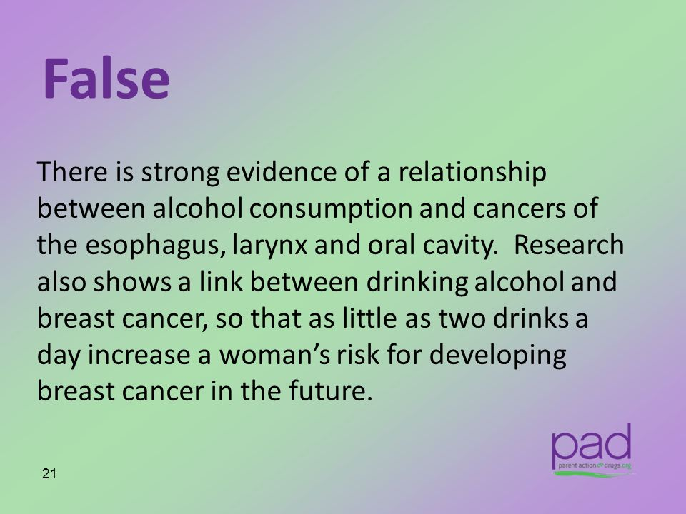 False There is strong evidence of a relationship between alcohol consumption and cancers of the esophagus, larynx and oral cavity. Research also shows