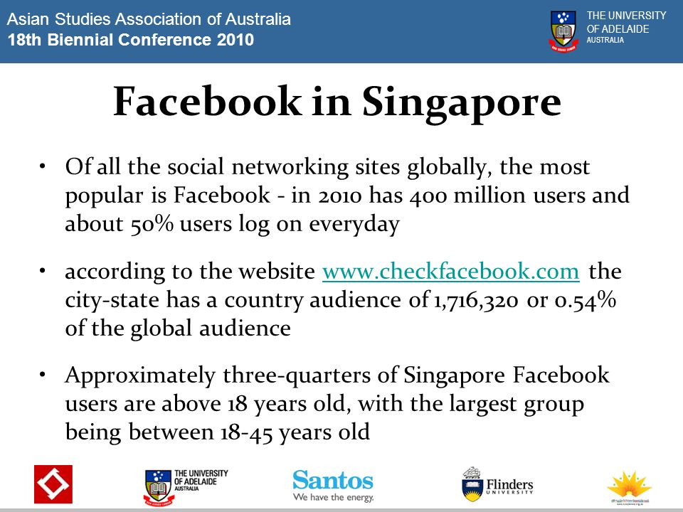 Asian Studies Association of Australia 18th Biennial Conference 2010 THE UNIVERSITY OF ADELAIDE AUSTRALIA Facebook in Singapore Of all the social networking sites globally, the most popular is Facebook - in 2010 has 400 million users and about 50% users log on everyday according to the website   the city-state has a country audience of 1,716,320 or 0.54% of the global audiencewww.checkfacebook.com Approximately three-quarters of Singapore Facebook users are above 18 years old, with the largest group being between years old