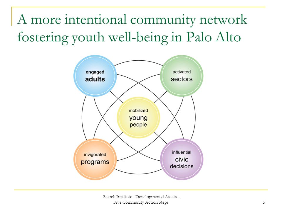 Search Institute - Developmental Assets - Five Community Action Steps 5 A more intentional community network fostering youth well-being in Palo Alto