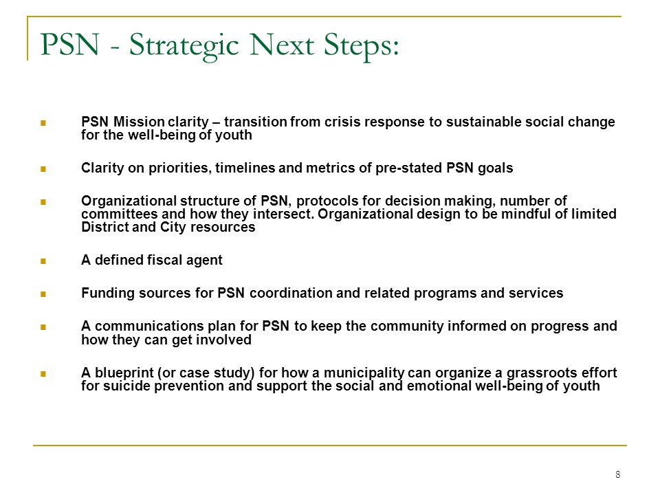 8 PSN - Strategic Next Steps: PSN Mission clarity – transition from crisis response to sustainable social change for the well-being of youth Clarity on priorities, timelines and metrics of pre-stated PSN goals Organizational structure of PSN, protocols for decision making, number of committees and how they intersect.