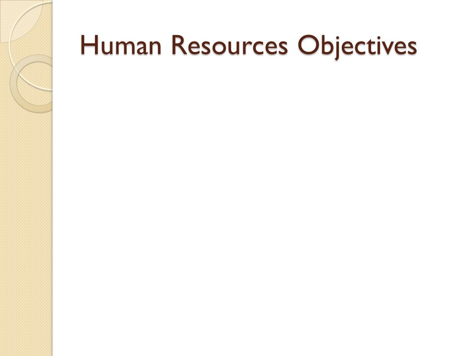 Human Resources Objectives