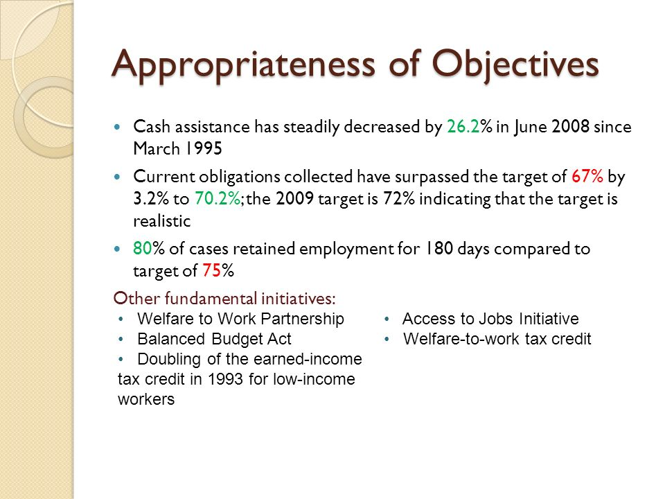 Appropriateness of Objectives Cash assistance has steadily decreased by 26.2% in June 2008 since March 1995 Current obligations collected have surpassed the target of 67% by 3.2% to 70.2%; the 2009 target is 72% indicating that the target is realistic 80% of cases retained employment for 180 days compared to target of 75% Other fundamental initiatives: Welfare to Work Partnership Balanced Budget Act Doubling of the earned-income tax credit in 1993 for low-income workers Access to Jobs Initiative Welfare-to-work tax credit